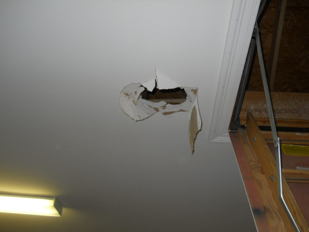 home inspector stepped through the ceiling