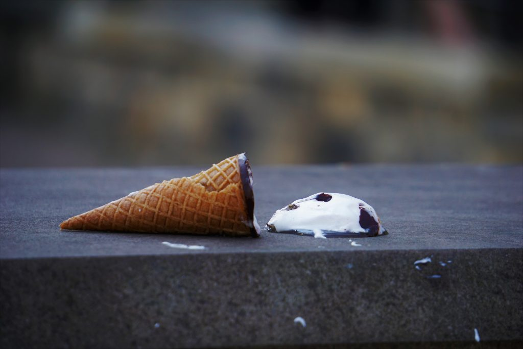 dropped an ice cream cone just like making a mistake on a home inspection