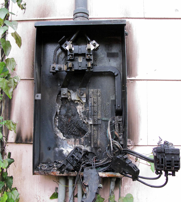 pic of burned electric panel