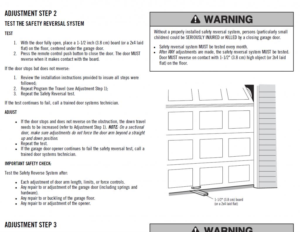 garage door reversal testing procedures
