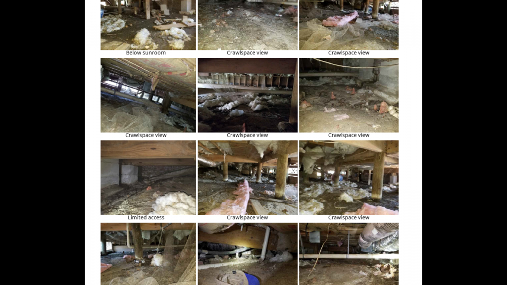 pictures of a crawlspace from a home inspection report