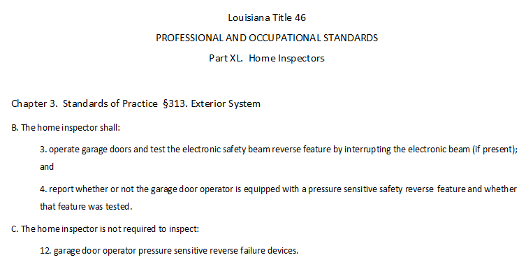 Louisiana (LSBHI) home inspection standards of practice for licensed home inspectors