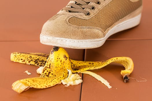 pic of slipping on a banana peel