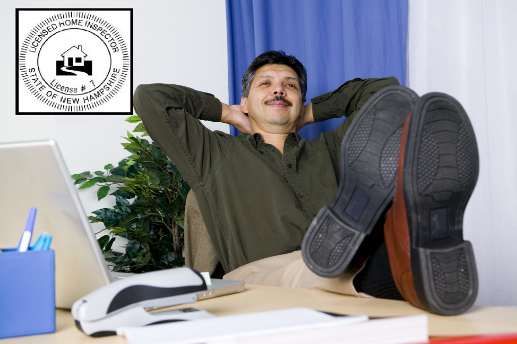 professional home inspector relaxing at his desk