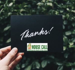 pic of thank you card from House Call Home Inspection