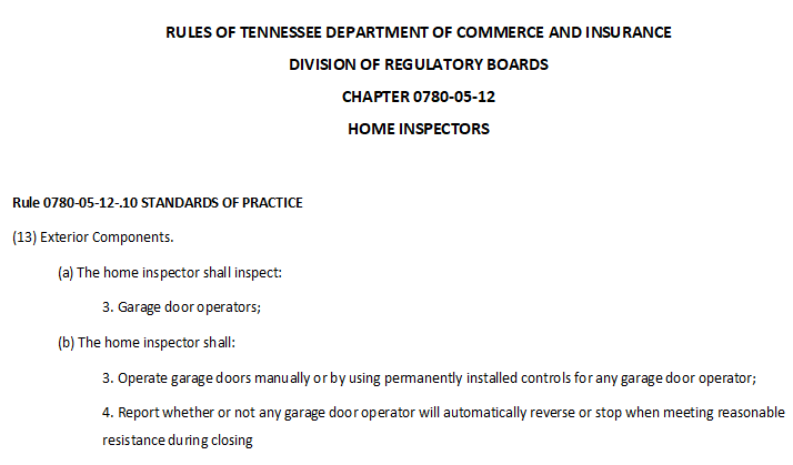 Tennessee home inspection standards of practice for licensed home inspectors