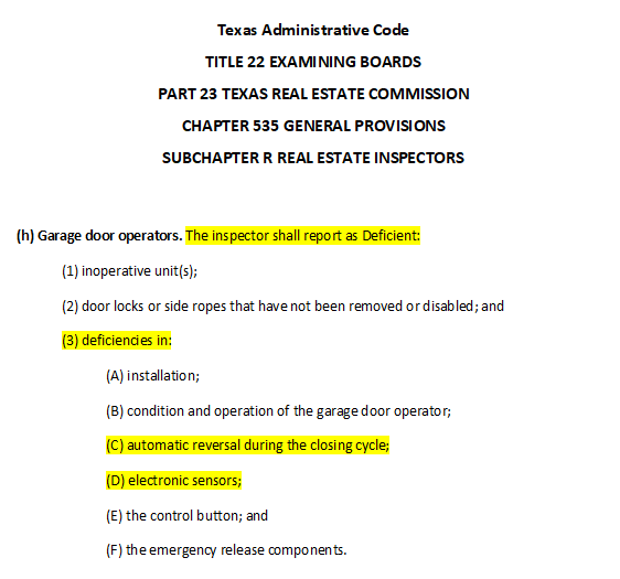 Texas home inspection standards of practice for licensed home inspectors